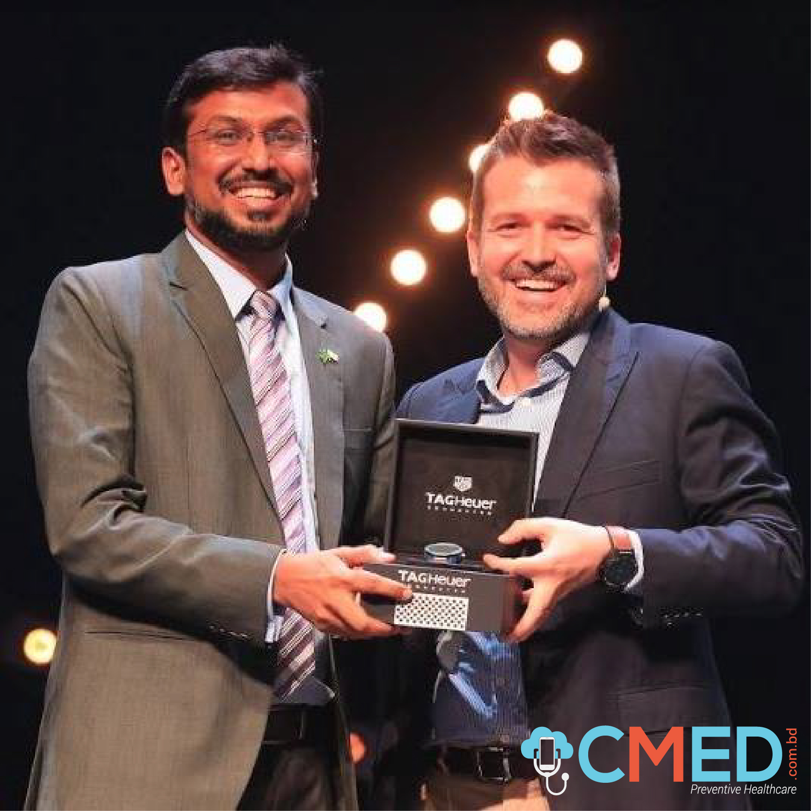 The chairman of CMED Dr. Khondaker Abdullah Al Mamun Receiving the innovation prize sponsored by TAG Heuer at Seedstars Summit 2018 in Switzerland